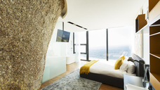 Rock feature in modern bedroom - CAIF17151