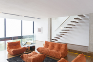Sofas and staircase in modern living room - CAIF17163