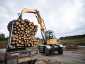 Digger loading trees on articulated truck - CVF00315