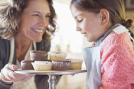 Grandmother offering granddaughter cupcakes - CAIF17293