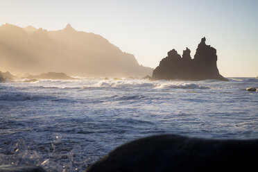 Spain, Canary Islands, Tenerife, Benijo coast at sunset - STCF00444