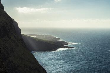 Spain, Canary Islands, Tenerife, Punta de Teno, wind turbines at the coast - STCF00450