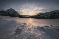 Austria, Styria, Woerschachwald in winter at sunset - STCF00471