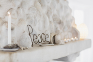 Peace sign on mantel - CAIF18865
