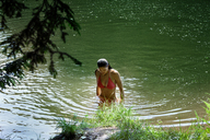 High angle view of woman in standing lake - CAVF09826