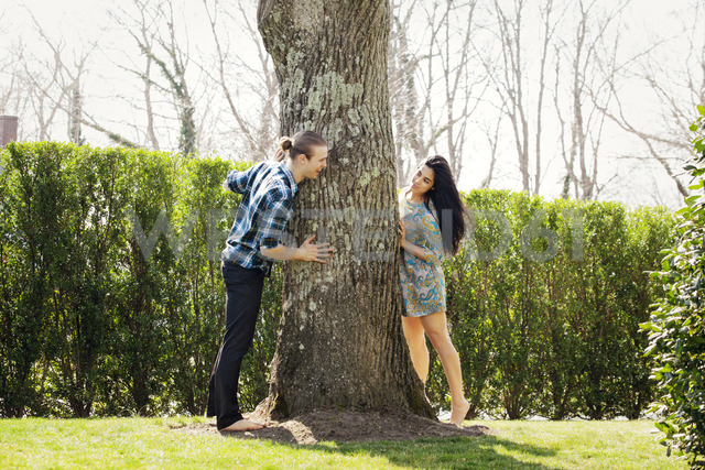Couple standing around tree in lawn - CAVF10204