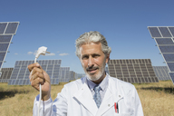 Scientist holding plug to solar panels - CAIF19630