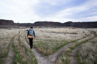 Rear view of hiker with backpack walking on field against sky - CAVF10579