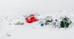 Nepal, Khumbu, Everest Base Camp, tents snowed up - ALRF01010