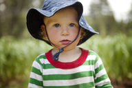 Portrait of cute boy at farm - CAVF11381