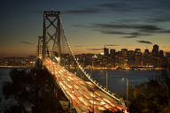 Blurred motion of vehicles on Oakland Bay Bridge at night - CAVF12562