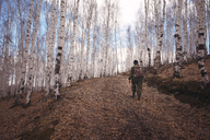 Male hiker waking in forest - CAVF13033