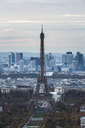 High angle view of Eiffel Tower against sky in city during sunset - CAVF13405