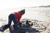 Boy playing with sand at Limantour beach during sunny day - CAVF13654