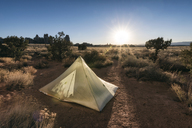 Tent on field at Canyonlands National Park against sky - CAVF15178