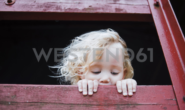 Cute girl looking away from tree house - CAVF15360