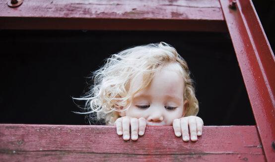 Cute girl looking away from tree house - CAVF15360