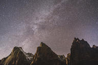 Low angle view of mountains against star field at Zion National Park - CAVF15846