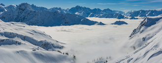 Germany, Allgaeu Alps, panoramic view from Zeigersattel to cloud-covered Seealpsee with Hoefats in the background - WGF01173