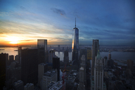 One World Trade Center against sky during sunset - CAVF17254