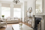 Luxury home showcase interior living room with fireplace - CAIF20133