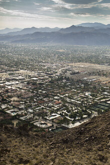 Aerial view of cityscape against mountains - CAVF20121