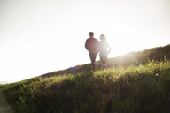 Rear view of friends running on grassy field during sunset - CAVF20205