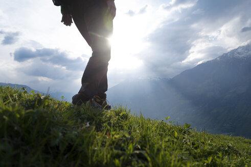 Low section of male hiker walking on grassy field - CAVF20331