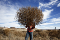 Man holding tumbleweed while standing in field against sky - CAVF20529