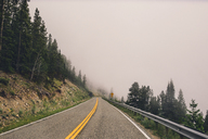 Mountain road amidst trees against sky in foggy weather - CAVF20766