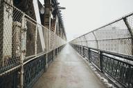 Walkway on Brooklyn Bridge against clear sky - CAVF21228