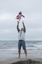 Playful father throwing daughter in air while standing on shore against sky at beach - CAVF21816