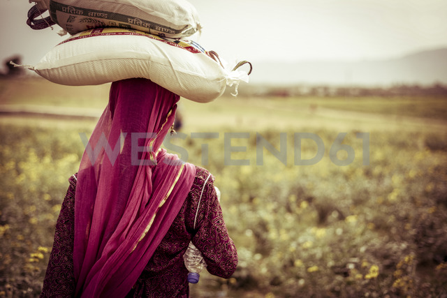 Rear view of woman carrying bags on head at farm - CAVF22899