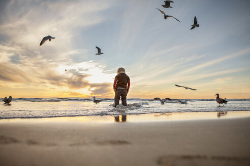 Rear view of girl standing at beach against sky during sunset - CAVF23517
