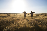 Rear view of friends holding hands while walking on grassy field - CAVF23721