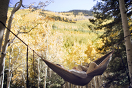 Man relaxing in hammock against trees in mountain - CAVF23907
