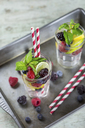 Infused water with fresh berries, raspberry, blueberry, blackberry, mint and lime - JUNF01024