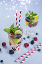 Infused water with fresh berries, raspberry, blueberry, blackberry, mint and lime - JUNF01027
