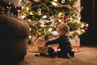 Side view of cute baby boy playing with toy truck by Christmas tree at home - CAVF24554