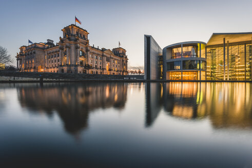 Germany, Berlin, view to Reichstag and Paul Loebe House at sunset - KEBF00767