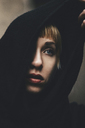 Portrait of woman with black hood - MOMF00407