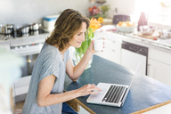 Smiling woman using laptop in kitchen at home - MOEF00930