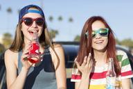 Portrait of female friends having drinks while sitting on bonnet against sky - CAVF24899