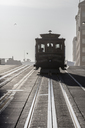 Tramway on city street at San Francisco during sunny day - CAVF25028