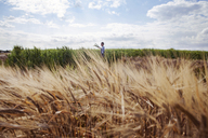 Distant view of female farmer working on wheat field - CAVF25139