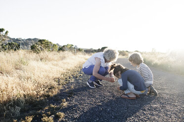 Grandmother and grandsons searching something on country road against clear sky - CAVF25499