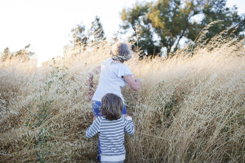 Rear view of grandmother and grandson walking amidst plants on field - CAVF25505