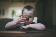 Boy holding cupcake at table - CAVF26684