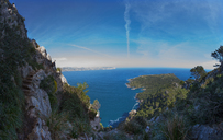 Spain, Balearic Islands, Mallorca, Peninsula Alcudia, View to Cap des Pinar, hiker - WWF04216