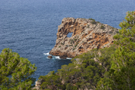 Spain, Balearic Islands, Mallorca, Deia, Peninsula Sa Foradada, natural arch - WWF04222